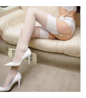 Sexy simple band white stocking