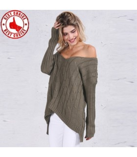 Criss cross backless knitted green sweater