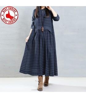 Lino maniche lunghe abito lungo blu