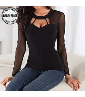 Transparent mesh decollete black blouse