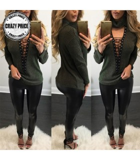 Hollow out black collar blouse