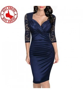 Blue lace generous V-neck dress