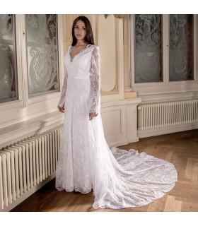 Super sexy rückenfreies Spitzen Brautkleid