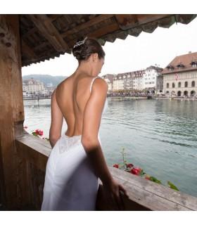 Robe de mariage moderne sans dos sexy superbe