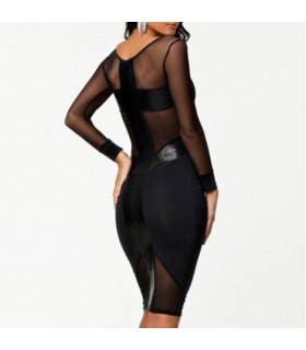 Backless moulantes manches longues robe sexy