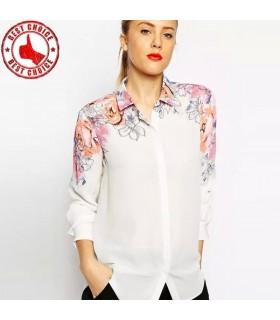 Weißes Blumendruck hemd
