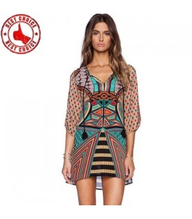 Tribal geometric print chiffon dress