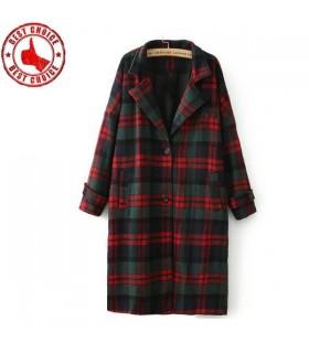 Manteau classique rétro à carreaux rouge et vert