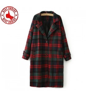Retro classic red and green plaid coat