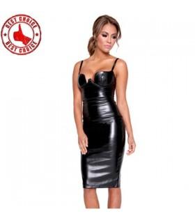 Spagetti schnallen erotisches schwarzes Lederkunstkleid fest