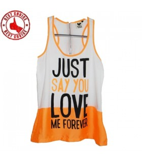 Orange top with message