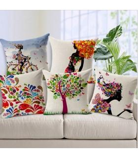 Cinque Gloria Agostina cuscino copertina in lino mondo
