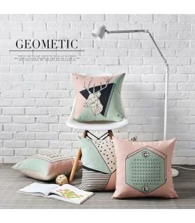 Lino rosa Nordic cuscino quattro copertura