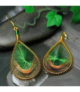 Peacock wire gold thread ear drop earrings