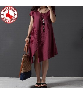 Ruffle embroidered irregular casual linen dress