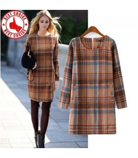 Fashion plaid wool dress