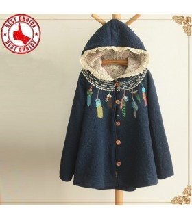 Thin embroidered hooded cotton parka