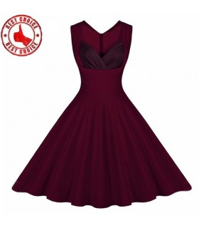 Sexy V-neck elegant wine red dress
