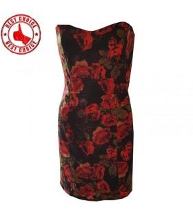 Red roses print dinner dress