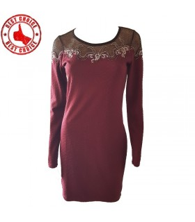 Bordo mesh rhinestones embroidery sexy dress