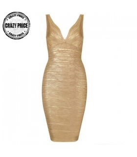 Gold bandage simple dress