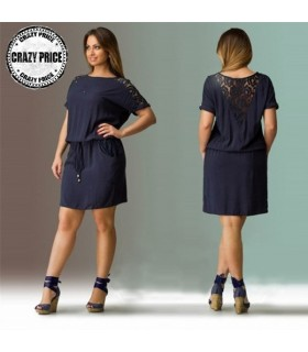 Navy blue cotton leisure dress