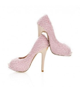 Fluffy pink peep toe shoes