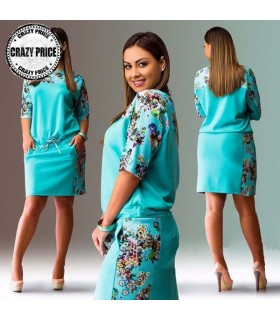 Azure blue with flower printed dress