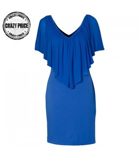 Elastic dress with chiffon ruffle in front