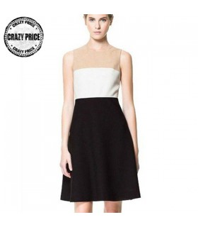 Formal business white beige and black dress
