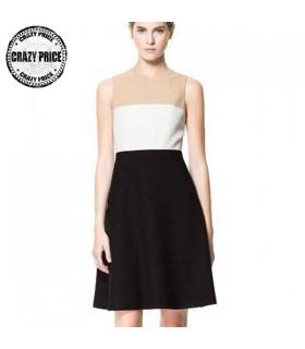 Formales Geschäft weißes beige und schwarzes Kleid