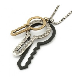 Fashion key shaped  rhinestones necklace