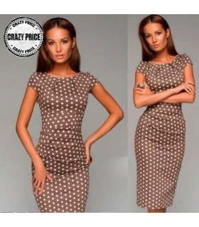 Brown dots satin dress