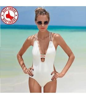 Monokini blanc sans dossier