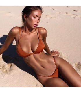 Brasilianischer einfacher orange Bikini