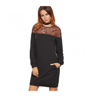 Embroidered mesh long sleeved dress