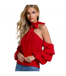 Asymmetric one shoulder red blouse
