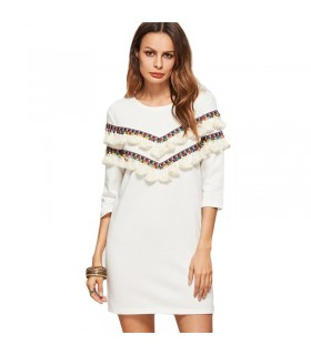 Embroidered white tassel dress