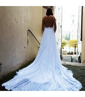Schönes romantisch rückenfreies sexy Hochzeitskleid