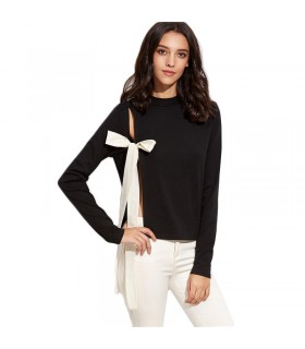 Open side shirt white bow black blouse