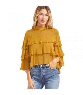 Mustard ruffle blouse