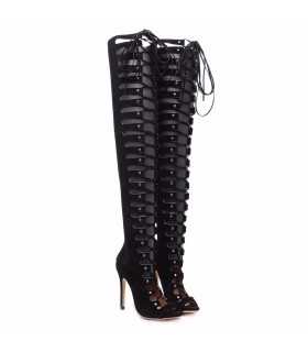 Black lace up sexy high heels boots