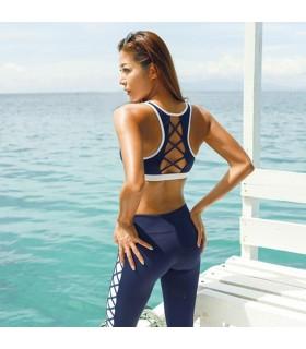 Sport blue sexy strappy sportwear