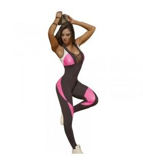 Combinaison de fitness noire et rose