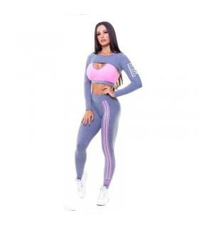 Sexy rosa und graue Fitness Sportbekleidung