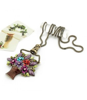 Vintage colored flower basket necklace