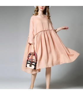 Loose round neck linen dress