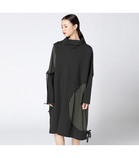 Irregular loose turtleneck dress