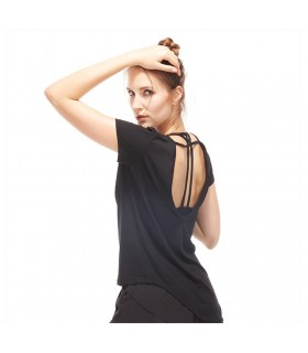 Quick dry open back black workout top
