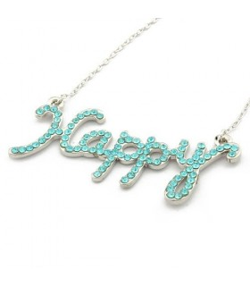 Fashion rhinestones necklace Happy